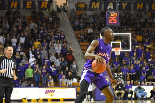 Jawaun Newton scored a career-high 13 points during Evansville's loss Wednesday to Northern Iowa.