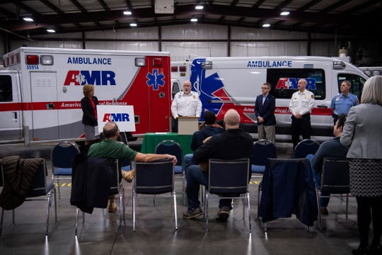 """Lee Turpen, AMR operations manager for Southern Indiana, center, address the media about the """"Earn While You Learn Program"""" which has partnered with both the City of Evansville and Ivy Tech Community College at the AMR headquarters in Evansville Thursday afternoon, Feb. 27, 2020."""