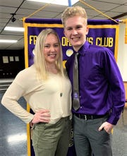 Ross High School seniors Alexis Prenzlin and Evan Starkweather are honored by the Fremont Lions Club.