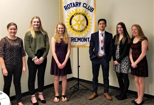 Contestants in the Annual Rotary Four-Way Test Speech Contest were, from left, Eden Sheidler, Caroline Cahill, Tannah Bower, Michael Hang, Morgan Shetzer, and Allison Taylor.