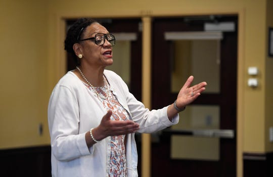 Becky Stone, an actor and scholar, portrays Rosa Parks as part of Colorado Humanities' Black History Live tour at Front Range Community College in Fort Collins on Thursday.