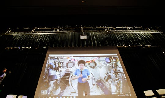 U.S. astronaut Jessica Meir answers questions at Fort Myers High School on Thursday Feb. 27, 2020, from the International Space Station. Almost 20 students from Lee County schools got to take part in a Q&A session with the astronaut.
