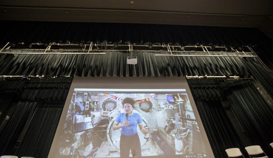 International Space Station NASA astronaut Jessica Meir answers questions at Fort Myers High School on Thursday Feb. 27, 2020. Almost 20 Students from Lee County schools got to take part in a Q & A session with the astronaut.