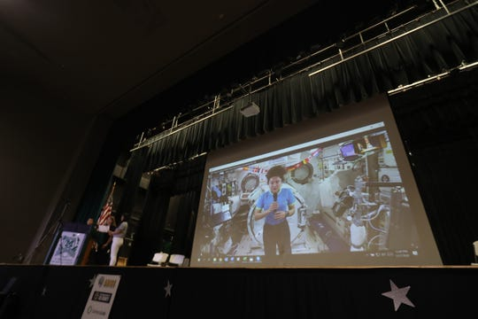 Almost 20 Students from Lee County schools took part in a Q & A session with International Space Station astronaut Jessica Meir at Fort Myers High School on Thursday Feb. 27, 2020.