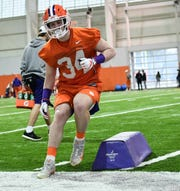 Clemson safety Ben Batson (34) runs in a drill during Spring practice in Clemson Wednesday, February 26, 2020.