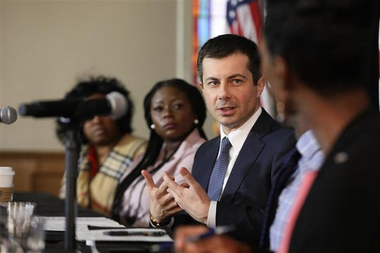 Candidate Pete Buttigieg holds a healthcare equity roundtable in Greenville, SC, Thursday, Feb. 27, 2020.
