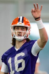 Clemson quarterback Trevor Lawrence (16) participates in Clemson's spring practice Wednesday, Feb. 26, 2020.