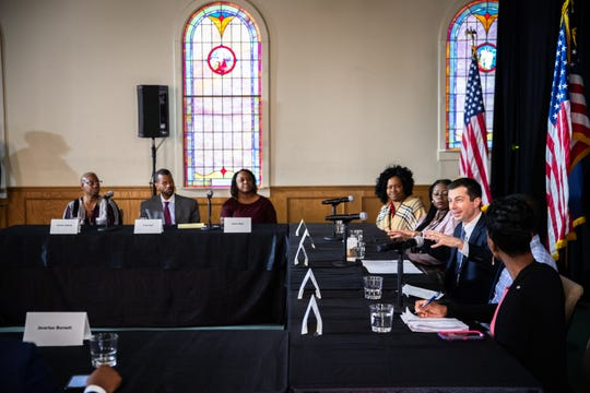 Pete Buttigieg, former mayor of South Bend Indiana, attended a roundtable on health equity at Nicholtown Missionary Baptist Church Thursday, February 27, 2020.