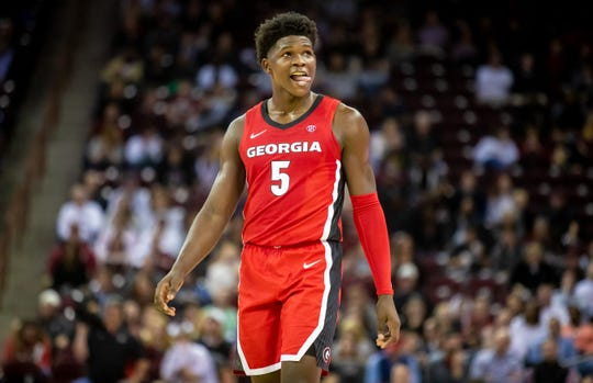 Feb 26, 2020; Columbia, South Carolina, USA; Georgia Bulldogs guard Anthony Edwards (5) reacts to a play against the South Carolina Gamecocks in the second half at Colonial Life Arena. Mandatory Credit: Jeff Blake-USA TODAY Sports