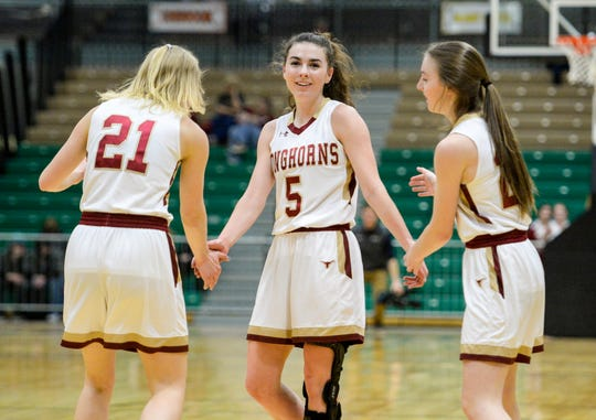 Fort Benton's Aspen Giese steps to the line for free throws after drawing a foul in Thursday's game against Simms during the Northern C Divisional Basketball Tournament in the Four Seasons Arena.