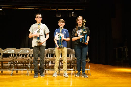 Nora McKelvey, right, an 8th grade student at Holy Spirit Catholic School won the 2020 Cascade County Spelling Bee. Conner Sturges, center, a 7th grade student at Holy Spirit Catholic School placed second and Conner Reisinger, left, a 7th grade student at North Middle School placed third.