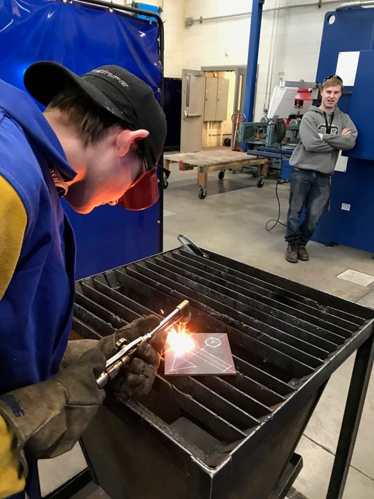 David Hanson of Helena Capital was one of 22 students from throughout Montana who was participating in a welding competition at Great Falls College MSU Thursday.