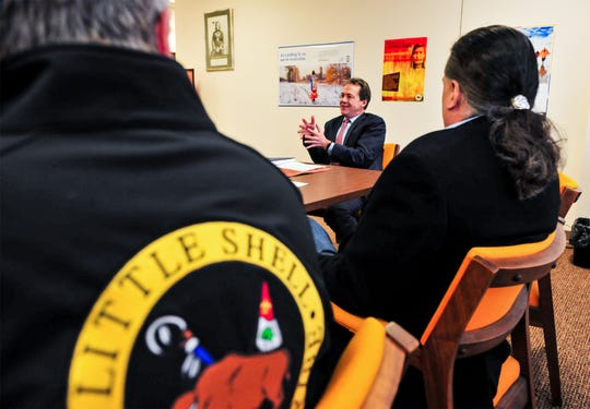 Gov. Steve Bullock discusses the 2020 Census with leaders of the Little Shell Tribe of Chippewa Indians Thursday afternoon at the tribal office in Great Falls.