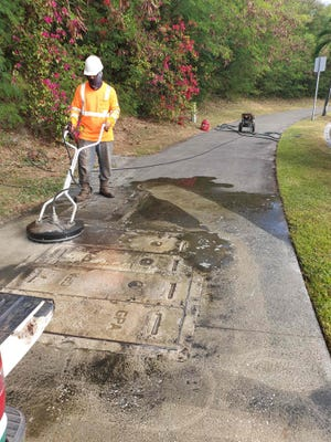 The Guam Visitors Bureau has started work on its Sidewalk Cleaning Project.