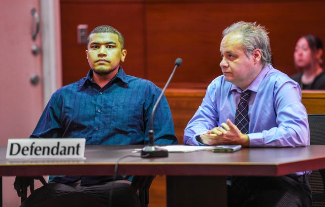 Defendant Brandon Acosta, left, appears before Superior Court of Guam Judge Vernon Perez with his attorney, William Pole, for what was to be the first day of his trial at the Guam Judicial Center in this Feb. 27 file photo.