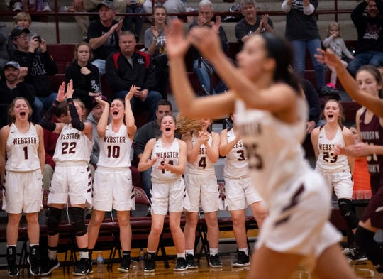 The Webster County bench erupts as the Lady Trojans extended their lead against Henderson County late in the Sixth District Tournament girls finals at Webster High School in Dixon, Ky., Wednesday night.