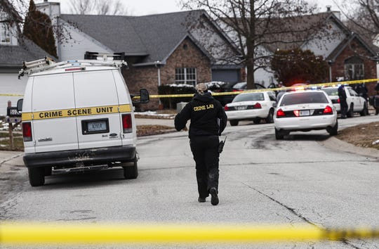 Indianapolis Metropolitan Police officers responded at around 3:50 p.m. to shots fired in the 5000 block of Eagles Watch Drive, Indianapolis, Thursday, Feb. 27, 2020. One adult male was found dead at the scene.