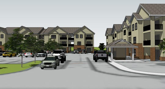 An artist's rendering of the entrance to Grace Cove Apartments proposed to be built in Medina just off Highway 45 East.