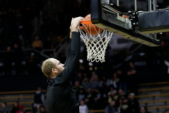 Purdue forward Evan Boudreaux (12) warms up before the first half of a NCAA men's basketball game, Thursday, Feb. 27, 2020 at Mackey Arena in West Lafayette.