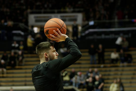 Purdue guard Tommy Luce (15) warms up before the first half of a NCAA men's basketball game, Thursday, Feb. 27, 2020 at Mackey Arena in West Lafayette.