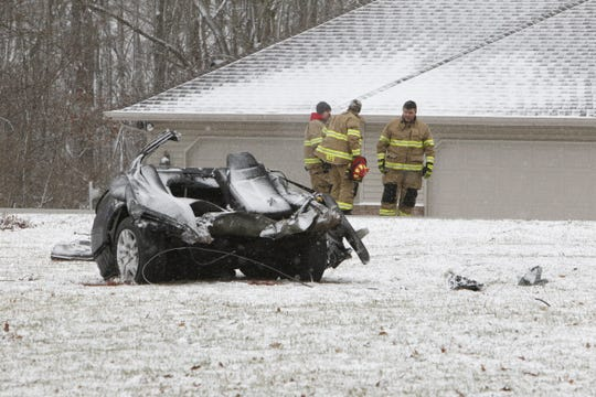 This is one of three pieces of a Nissan Altima that was eastbound on County Road 100 North at a high rate of speed about 8:15 a.m. Wednesday, Feb. 26, 2020. The driver, Dalton Kendall, 17, lost control of the car east of County Road 675 East. The car that split in three pieces after it struck tree on the northside of the road. Dalton and his passenger, Kyle Richardson, 16, died in the crash. Another passenger, Quinton Crabtree, 16, was critically injured. All three were Harrison High School students.