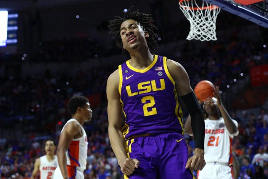 Feb 26, 2020; Gainesville, Florida, USA;LSU Tigers forward Trendon Watford (2) reacts after being fouled against the Florida Gators  during the first half at Exactech Arena. Mandatory Credit: Kim Klement-USA TODAY Sports
