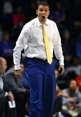 Feb 26, 2020; Gainesville, Florida, USA;LSU Tigers head coach Will Wade reacts against the Florida Gators during the first half at Exactech Arena. Mandatory Credit: Kim Klement-USA TODAY Sports