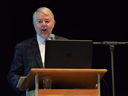 Lancaster Mayor David Scheffler gives the 2020 State of the City address Thursday, Feb. 27. He discussed the city's economic growth in 2019 and the budget issues facing the city going forward.