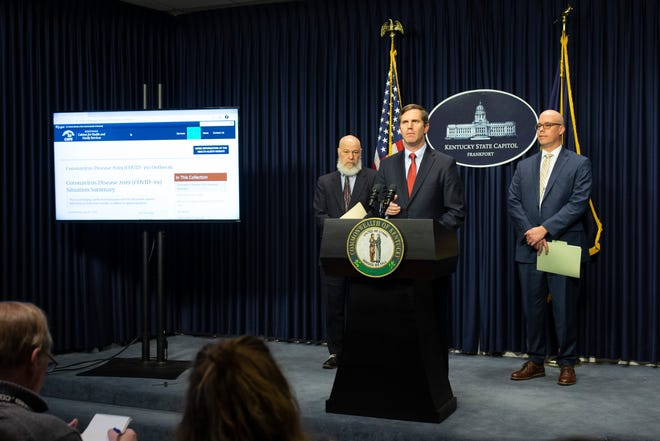 Gov. Andy Beshear addresses the media about the state's response to the coronavirus. Feb. 27, 2020