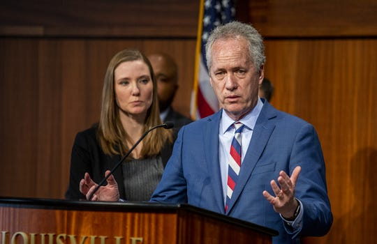 Louisville Mayor Greg Fischer answered questions from the media about the coronavirus situation at a press conference with Dr. Sarah Moyer, Chief Health Strategist and Director, Louisville Metro Public Health and Wellness on Thursday, Feb. 26, 2020