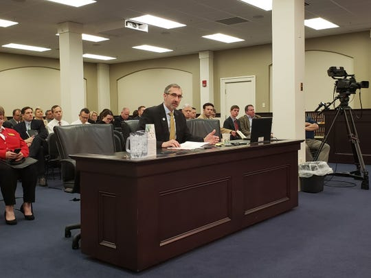 Sen. David Givens speaks in a committee hearing about a bill to overhaul Kentucky's school accountability system on Feb. 27, 2020. If passed, Givens' bill would be the third large change to the accountability system in as many years.