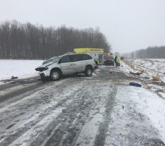 A 64-year-old Portland woman died Wednesday after a two-vehicle crash on 40 Acre Town Road in Orange Township.