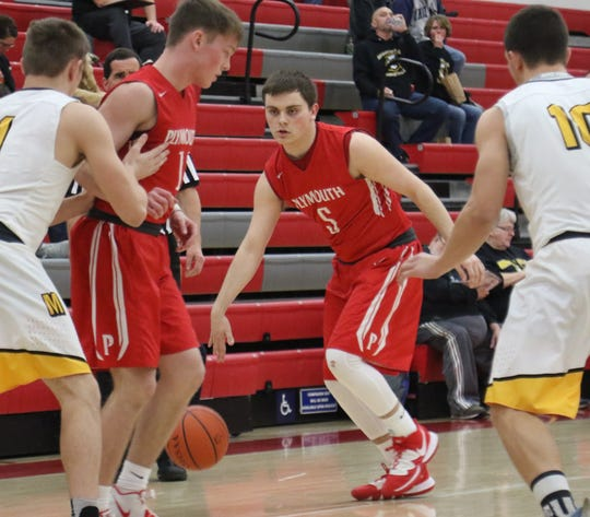 Plymouth's Josh Beebe scored the game-winning bucket off an offensive rebound in the Big Red's 47-46 win over Monroeville on Wednesday night.