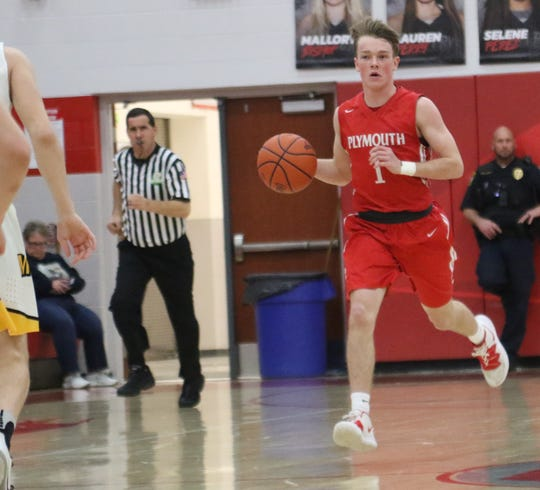 Plymouth's Walker Elliott led the Big Red with 18 points in a 47-46 win over Monroeville on Wednesday night.