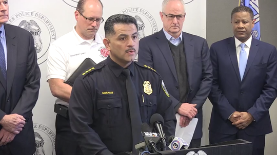 Milwaukee Police Chief Alfonso Morales announces the names of the suspect and the 5 victims in the shooting at Molson Coors. Mayor Tom Barrett and Molson Coors President and CEO Gavin Hattersley also speak.