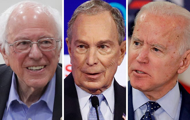 From left: Sen. Bernie Sanders, former New York Mayor Michael Bloomberg and former Vice President Joe Biden.