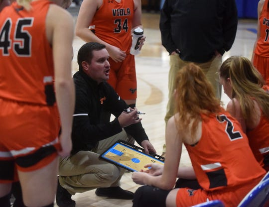 Viola Lady Longhorns coach Jason Hughes instructs his players during a game earlier this season. Viola rolled past Armorel to open the 1A Region 2 Tournament on Wednesday.