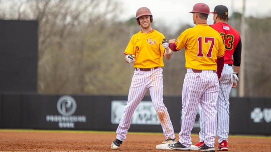 ULM's Andrew Beesley (3) had two hits with a double, grand slam, six RBIs and two walks. Ryan Humeniuk was 3-for-3 with a home run, three RBIs and three runs scored. Danny DeSimone had two hits, including the grand slam, with four RBIs and a walk.