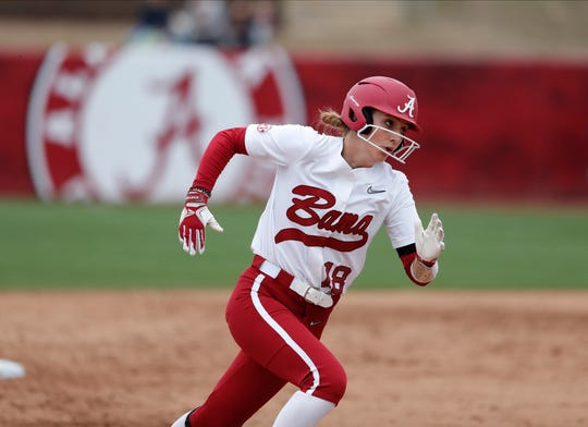 Alabama freshman center fielder Jenna Johnson (18) rounds third base during a recent game against Louisville on Feb. 23, 2020 at Rhoads Stadium in Tuscaloosa.
