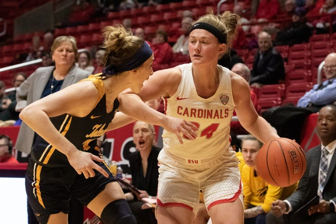 Ball State graduate guard Jasmin Samz competes for the Cardinals during their game Wednesday, Feb. 26, at Worthen Arena against Toledo. BSU won 66-60.