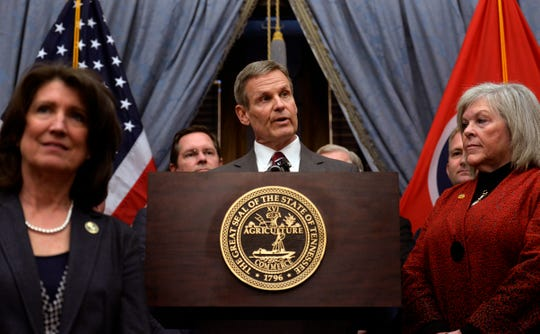 Gov. Bill Lee, announces plans to introduce legislation that would make Tennessee the latest state to allow residents to carry guns without obtaining a permit during a press conference on Thursday, Feb. 27, 2020 in Nashville, Tenn.