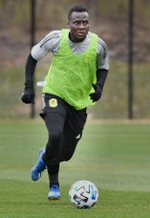 David Accam as Nashville SC opened up a training session to the media during their inaugural season in Brentwood, Tenn. Tuesday, Feb. 25, 2020.