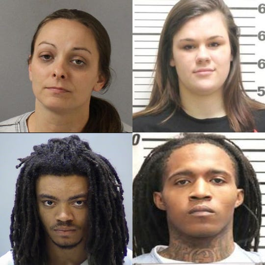 Four people face first-degree murder charges in connection to the Aprilfatal shooting ofCorvell Huddleston. Clockwise from left: Jessica L. Howard, 33; Lisa Maria Denson, 21; San Antonio Freeman, 24; Steven Searcy, 27.