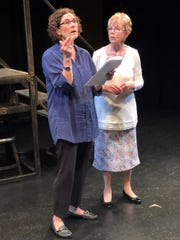 "Terry Libby, standing in for her partner, works with Nancy Schechter on a Noel Coward scene from ""The Vortex."""