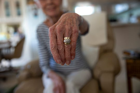 Ann DeVries shows the ring she accidently threw away and recovered at the landfill, Thursday, Feb. 27, 2020, in East Naples.
