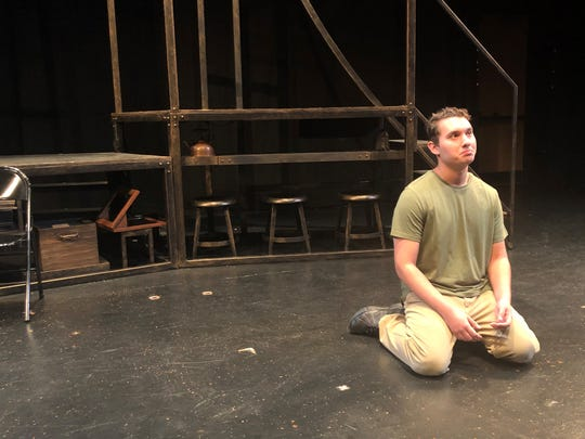 Kenneth Howard, as a U.S. soldier in Vietnam, contemplates his despair in a scene for the actors' workshop.
