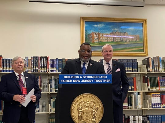 Commissioner of Education Lamont O. Repollet, alongside Gov. Phil Murphy, speak at Bound Brook High School about the state education aid New Jersey hopes to dole out in the state budget.