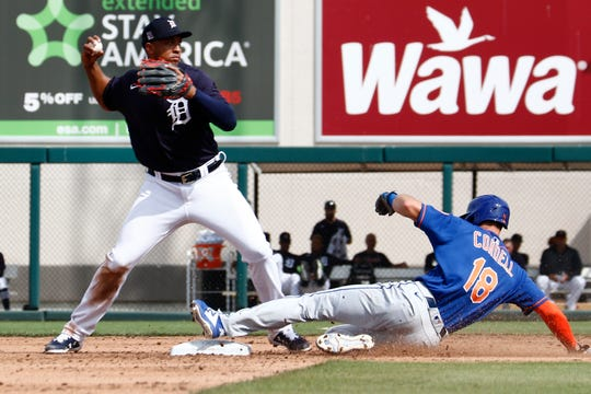 Feb 25, 2020; Lakeland, Florida, USA; Detroit Tigers second baseman Jonathan Schoop (8) throws to first base to complete a double play over New York Mets outfielder Ryan Cordell (18) during the fifth inning at Publix Field at Joker Marchant Stadium.