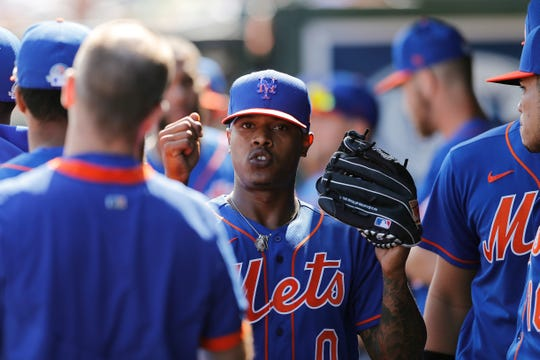 Marcus Stroman #0 of the New York Mets reacts after being taken out of the game against the St. Louis Cardinals in the second inning of a Grapefruit League spring training game at Roger Dean Stadium on February 22, 2020 in Jupiter, Florida.