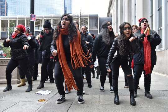A group of women conducted a protest with a rape chant outside of Newark Penn Station before the NJ Chamber of Commerce chartered train carries about 700 lawmakers and business leaders to DC in Newark, N.J. on Thursday Feb. 27, 2020.  The train trip, called Walk to Washington, was featured in recent reporting for promoting a drinking culture and harassment of women.